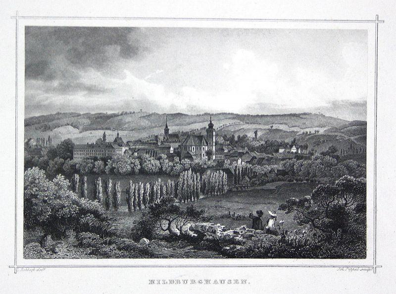 Hildburghausen Thüringen Kirche Stadt gravure Stahlstich Rohbock Poppel
