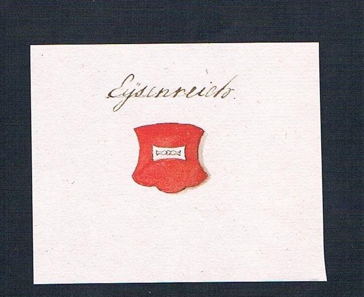 18. Jh. Eisenreich Handschrift Wappen Manuskript manuscript coat of arms