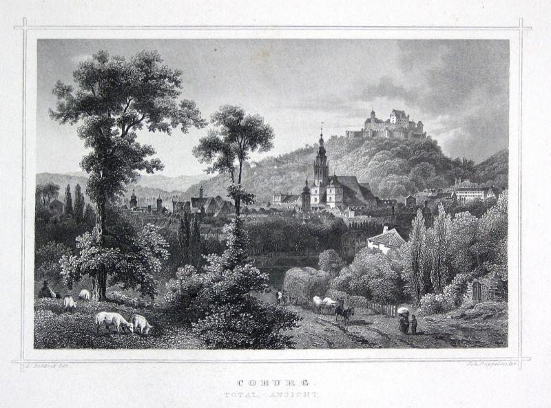 Coburg Bayern Oberfranken gravure Stahlstich Rohbock Poppel