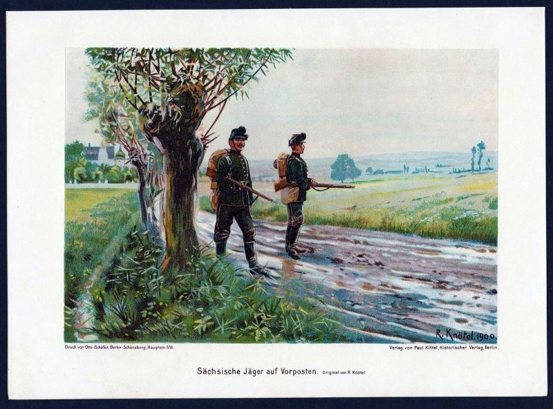 1890 - Soldaten Sachsen Vorposten Militaria Uniform Krieg Lithographie