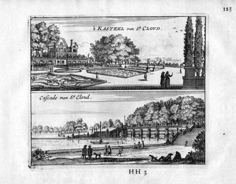 1666 Chateau Saint-Cloud Paris Frankreich France gravure estampe Kupferstich