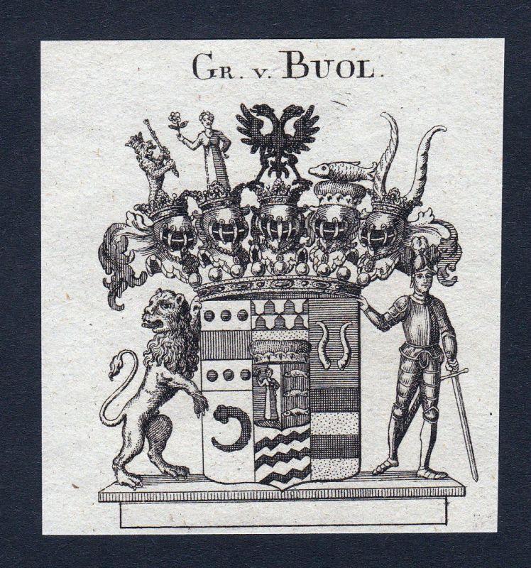 1820 Buol Böhmen Wappen Adel coat of arms Heraldik Kupferstich engraving