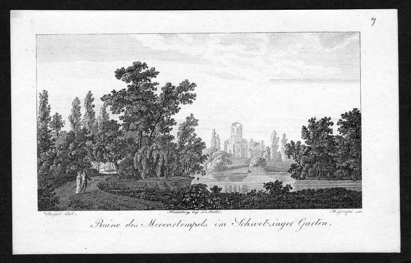 1820 Schloss Schwetzingen Merkurtempel Ansicht Kupferstich antique print Grape