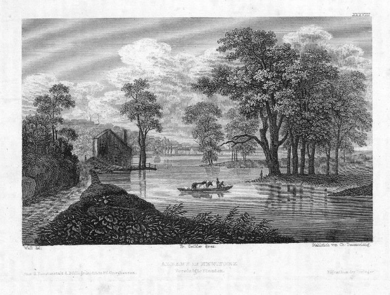 1840 - Albany New York America Original Stahlstich engraving view