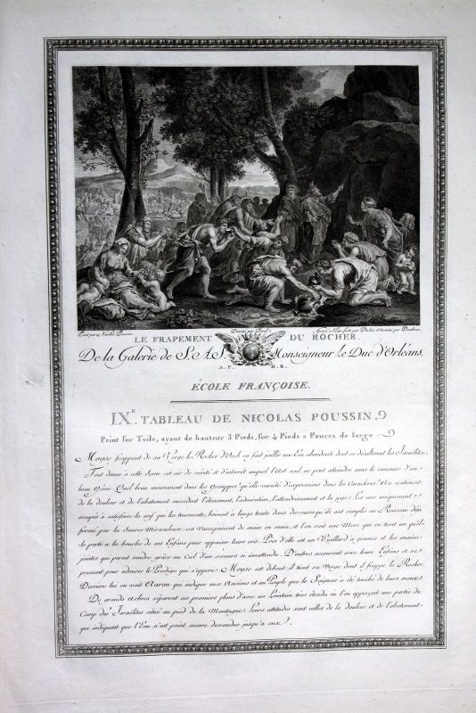 1786 Fels Felsen Wasser trinken water Kupferstich antique print Poussin Dambrun