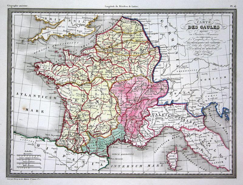 1837 Gallien Gaules Italien Italia Italy Korsika Corsica Monaco map Karte carte
