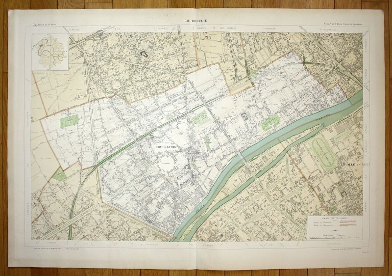 1895 Courbevoie Levallois-Perret Chemin Seine plan de la ville city map Paris