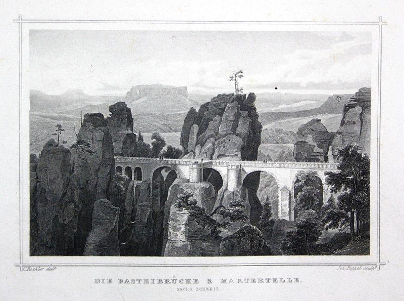 Basteibrücke Martertelle Sächsische Schweiz gravure Stahlstich Köhler Poppel