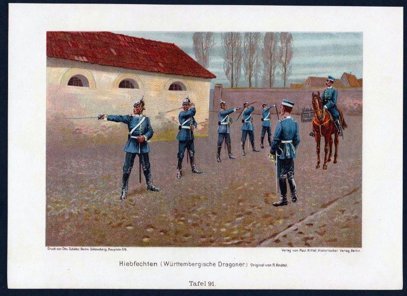 1890 - Hiebfechten Dragoner Württemberg Militaria Uniform Krieg Lithographie