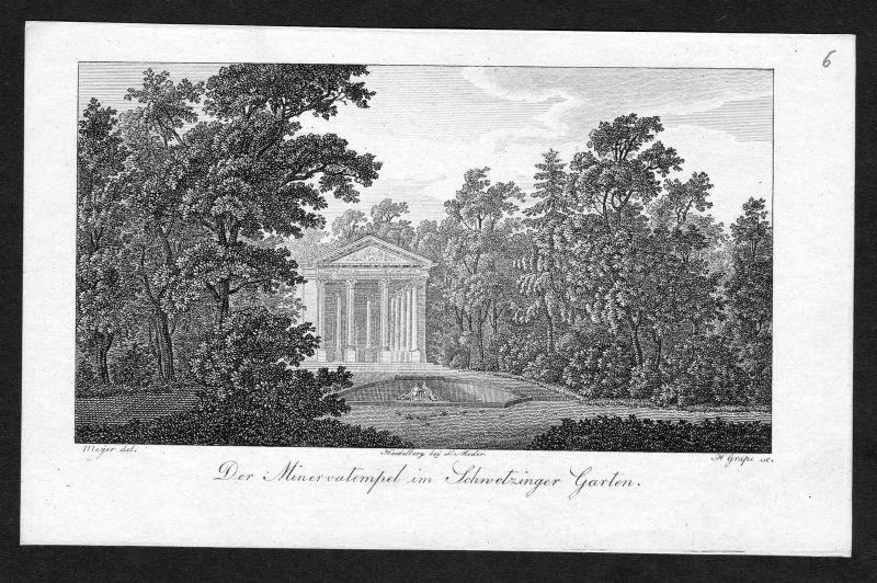 1820 Schloss Schwetzingen Minervatempel Ansicht Kupferstich antique print Grape