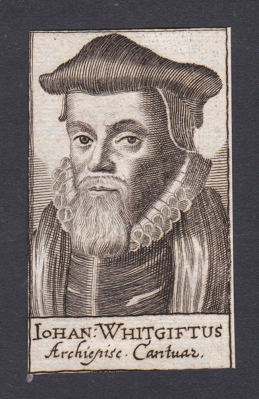 17. Jh. - John Whitgift / bishop Bischof Canterbury Portrait Kupferstich
