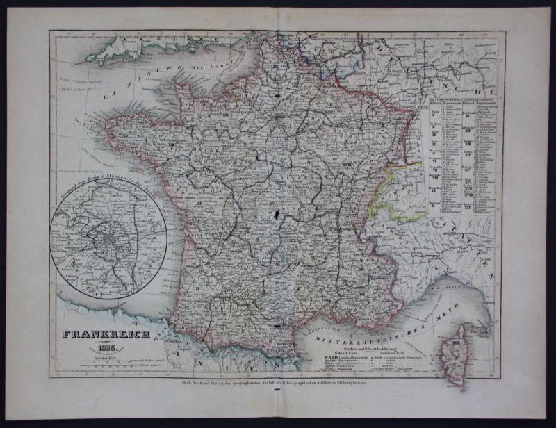 1855 - Frankreich France Paris Corse Korsika gravure Stahlstich Karte map carte