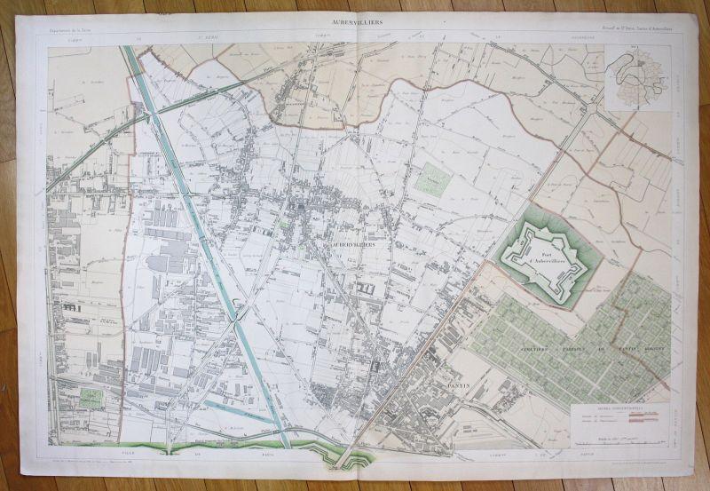 1895 Aubervilliers Pantin Fort d'Aubervilliers plan de la ville city map Paris