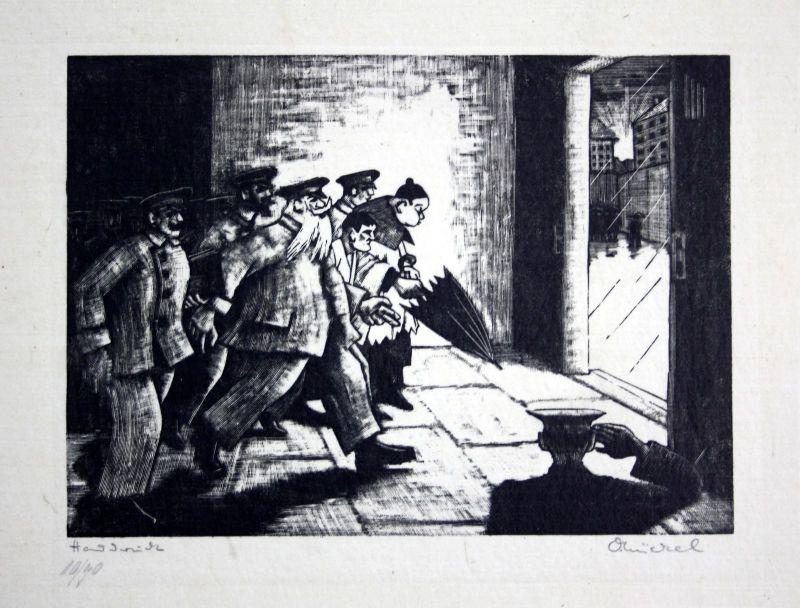 Otto Nückel (1888-1955) München Original Metallschnitt signiert Hinrichtung sign