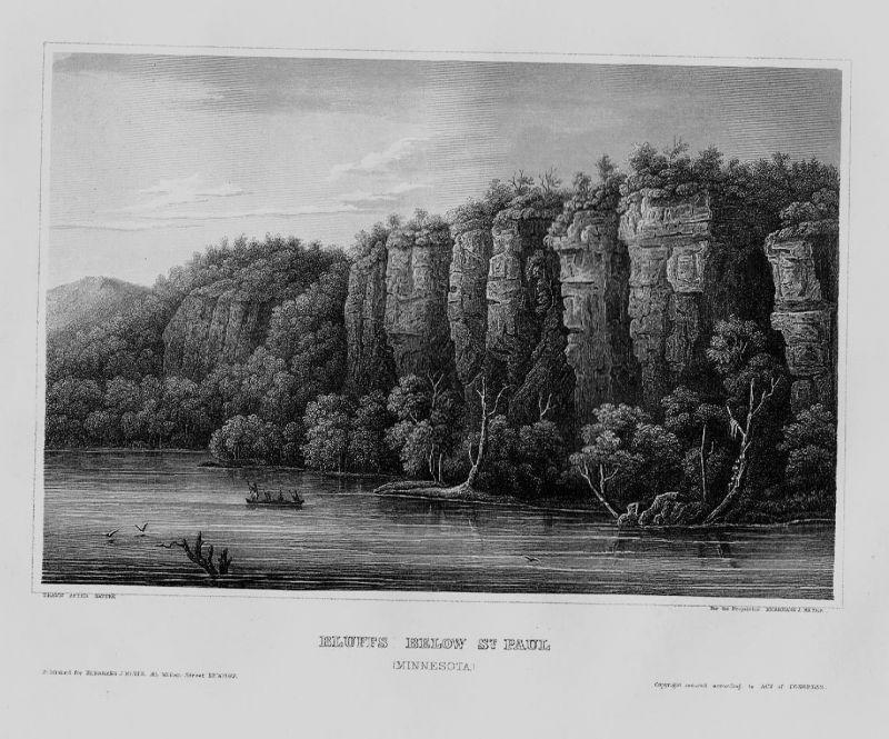 1840 - Daytons Bluff Saint Paul Minnesota Amerika America engraving Stahlstich