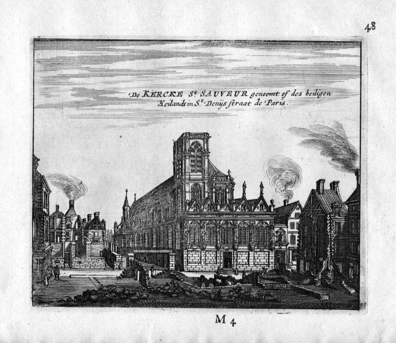 1666 Kirche Saint Sauveur Paris Frankreich France gravure estampe Kupferstich