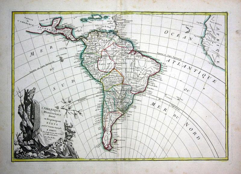1762 America Amerika South Peru Chile map engraving Karte Kupferstich Janvier