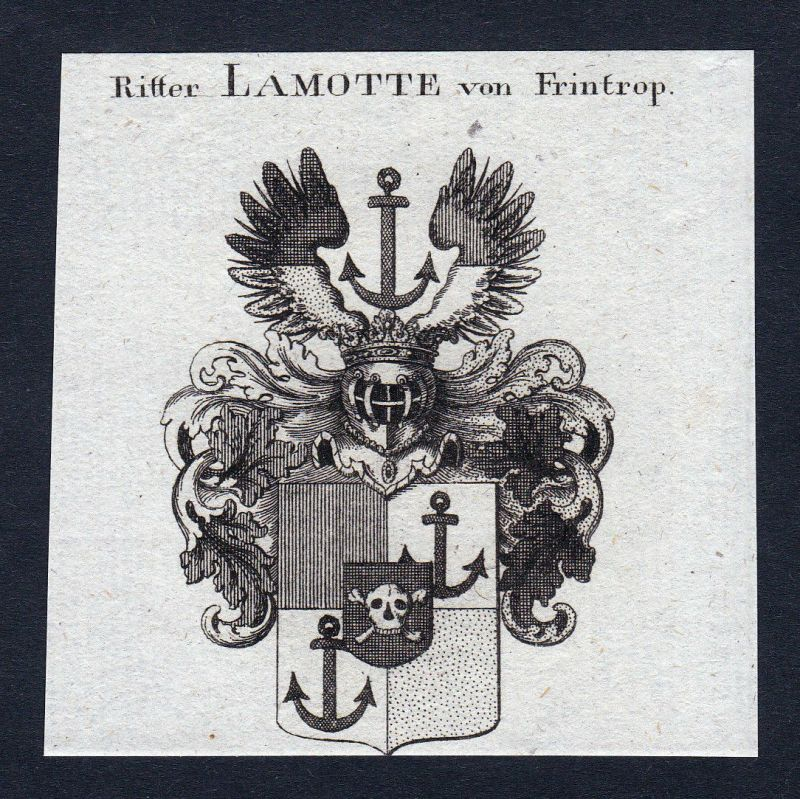 1820 Lamotte Frintrop Frintropp Wappen Adel coat of arms Kupferstich engraving
