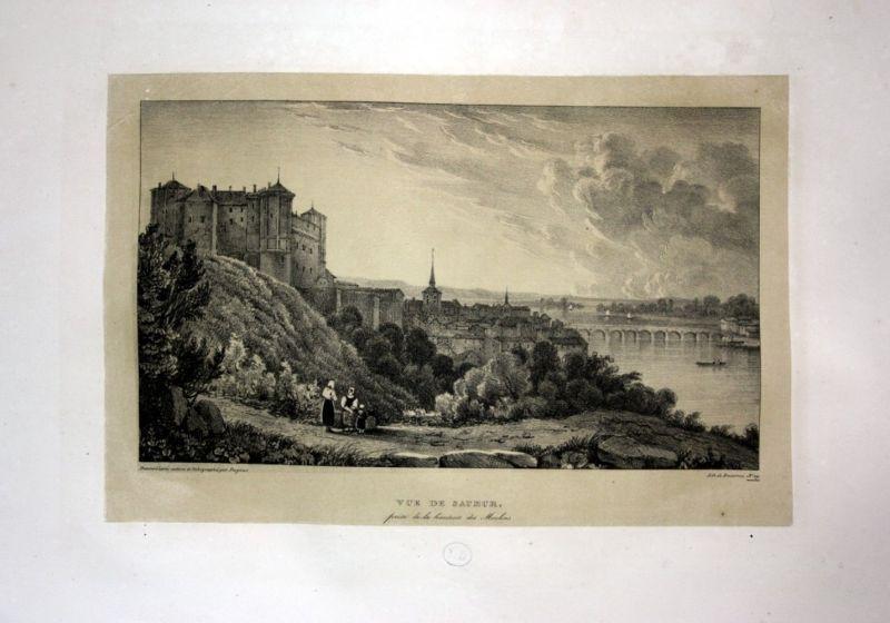 1829 Chateau Saumur Anischt vue view France Loire Lithographie Litho Dagnan