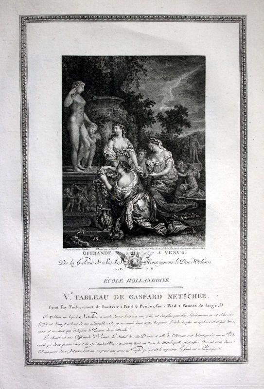 1786 Opfergabe offrande offering Venus Kupferstich antique print Netscher Mire