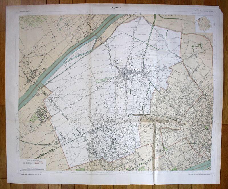 1895 Colombes Bezons Petit-Nanterre Chemin plan de la ville city map Paris