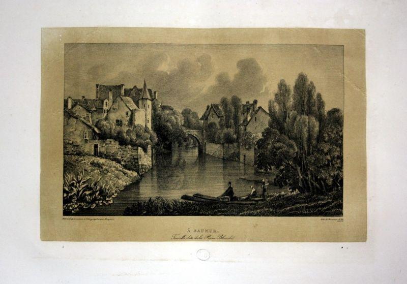 1829 Saumur Ruine Ansicht vue view Frankreich France Lithographie Litho Dagnan
