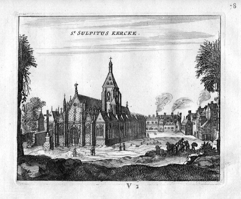 1666 Kirche Saint-Sulpice Paris Frankreich France gravure estampe Kupferstich