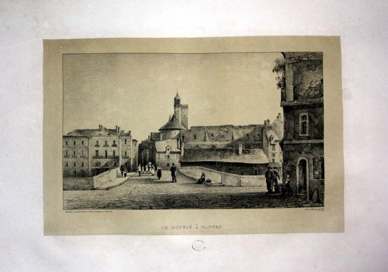 1829 Nantes vue Brücke pont France Straße rue Lithographie Litho Dagnan