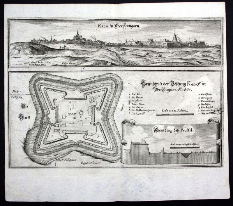 1665 Nagykallo Hungary Ungarn view plan Ansicht Kupferstich antique print Merian