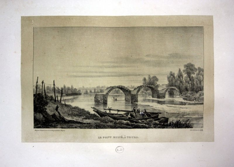 1829 Tours pont ruine Brücke Ansicht vue Lithographie Litho Dagnan