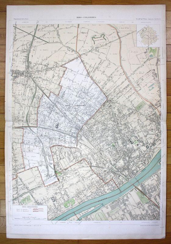 Bois-Colombes Asnières-sur-Seine Chemin Rouen plan de la ville city map Paris