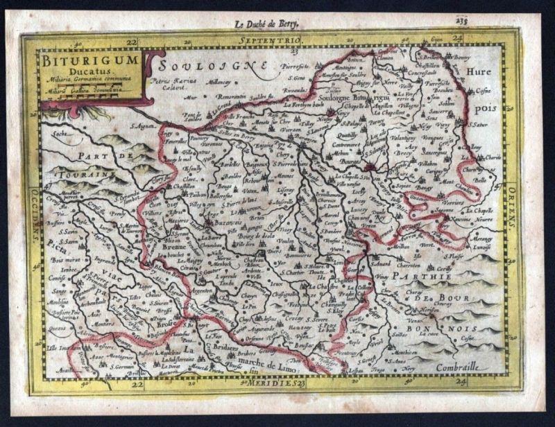 1630 Berry Bourges Vierzon Chateauroux Mercator map Karte Kupferstich gravure