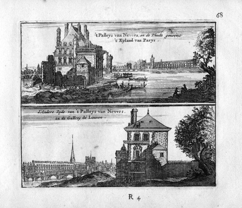 1666 Palais ducal de Nevers Paris Frankreich France gravure estampe Kupferstich