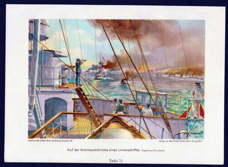 1890 Kommandobrücke marine Schiff Gefecht Militaria Uniform Krieg Lithographie
