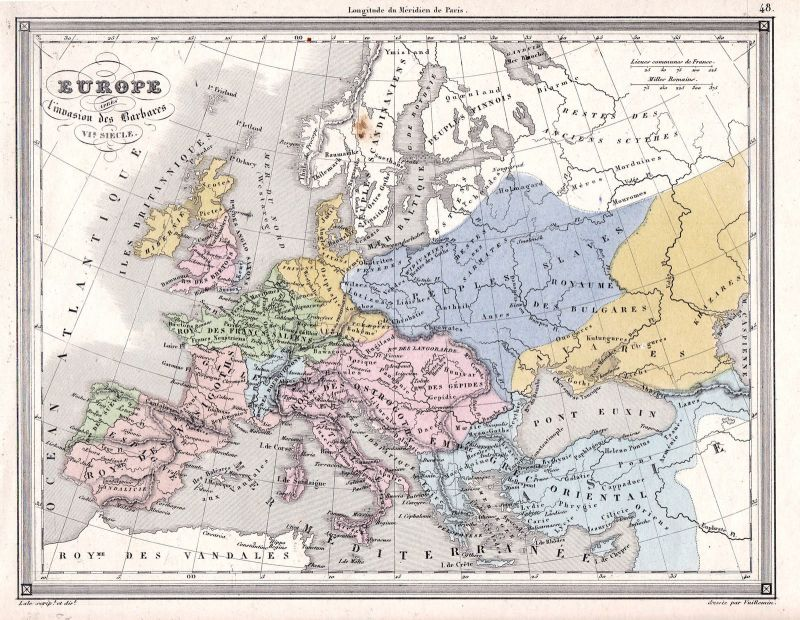 1780 Europa Europe Russia Poland Iceland Spain Clouet antique print ...