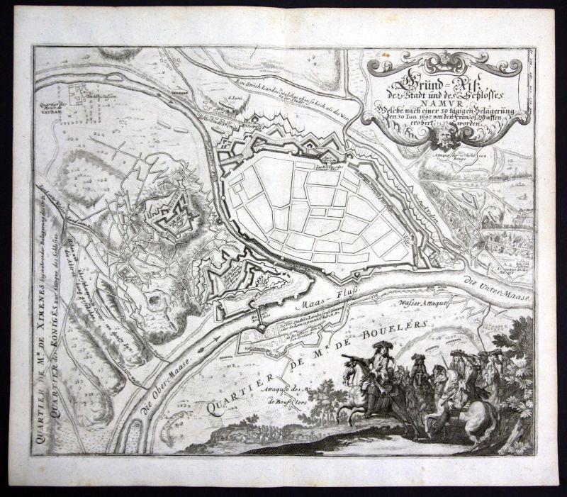 1700 Namur Belgique vue carte gravure Karte map Kupferstich antique print Merian