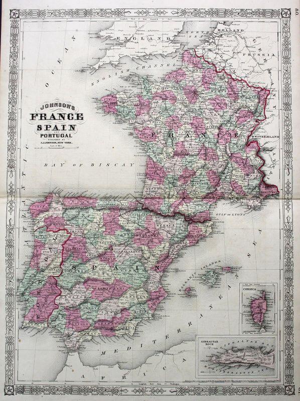 1865 France Spain Portugal Espana Corse Corsica Johnson vintage map Karte 157058