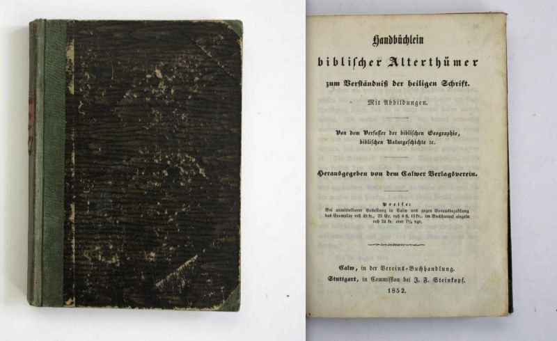 Handbüchlein biblischer Alterthümer zum Verständniß heiligen Schrift 1852 Bibel