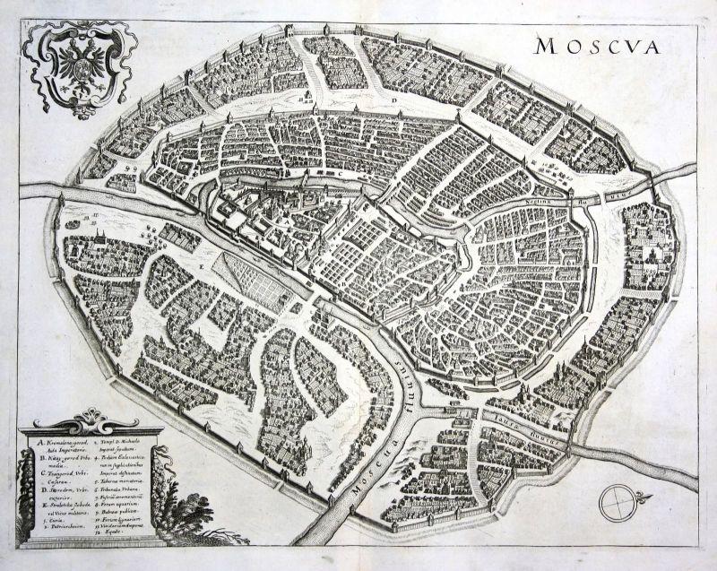 Ca 1650 Moscow Moskwa view plan Russia Russland Kupferstich antique print Merian