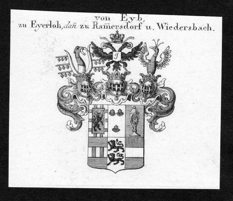 Ca. 1820 Eyb Eyerloh Wappen Adel coat of arms Kupferstich antique print heraldry
