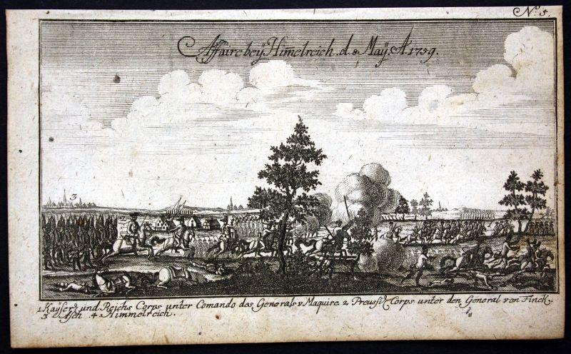 Ca. 1760 Himmelreich Nebesa As Czech battle Krieg Schlacht Kupferstich engraving