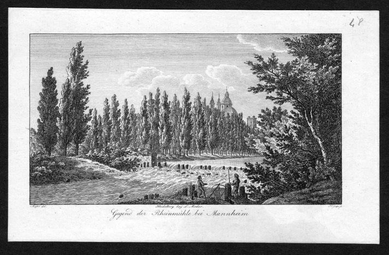 Um 1820 Rheinmühle Mannheim Ansicht Kupferstich antique print Grape