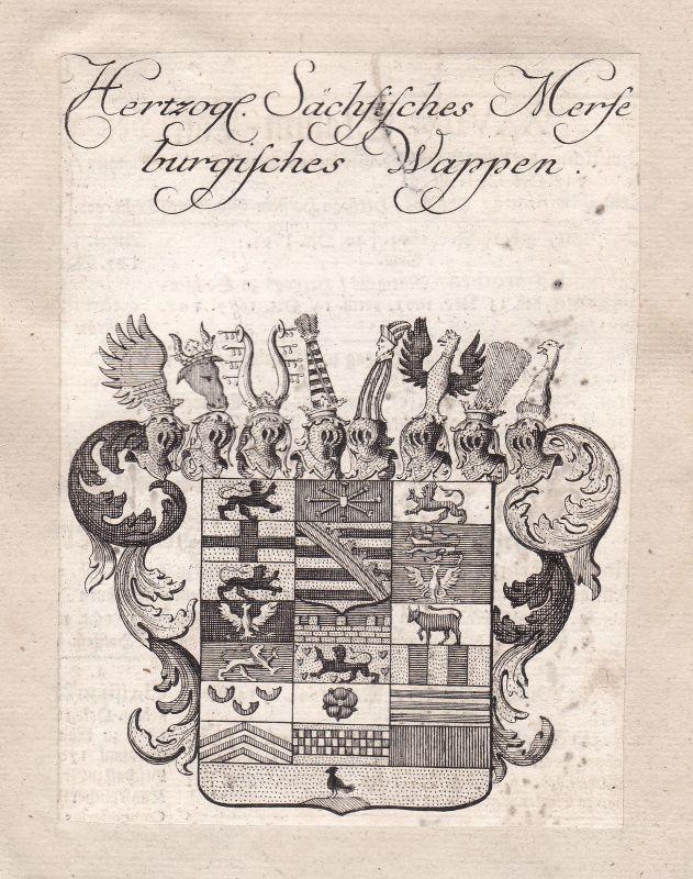 1750 Merseburg Sachsen-Anhalt Adel Wappen coat of arms Kupferstich antique print