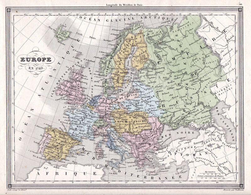 Karte Italien Frankreich.Europe Europa 1789 France Frankreich Italia Italien Germany Karte Map Vuillemin