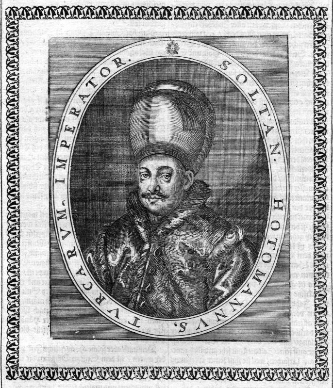 1650 Osman II Sultan Empire Turkey Türkei Portrait Kupferstich antique print