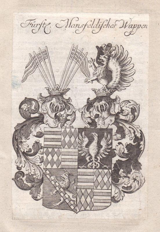 1750 Mansfeld Mansfeld-Südharz Sachsen-Anhalt Wappen coat of arms Kupferstich