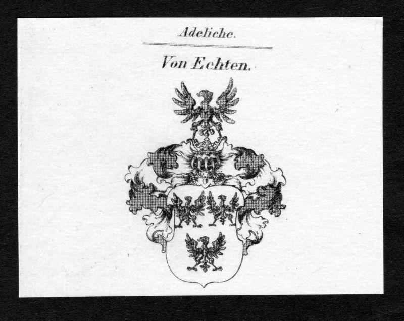 Ca. 1820 Echten Wappen Adel coat of arms Kupferstich antique print heraldry