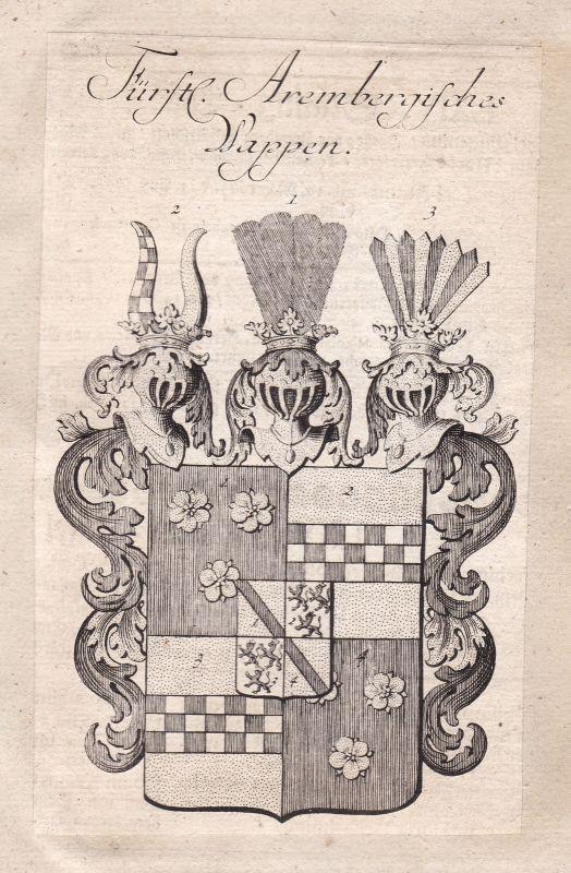 1750 Arenberg Rheinland-Pfalz Eifel Adel Wappen coat of arms Kupferstich