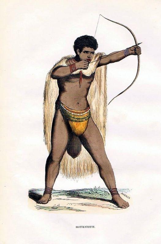 1845 Hottentotten Südafrika South Africa Trachten Holzstich costumes antique
