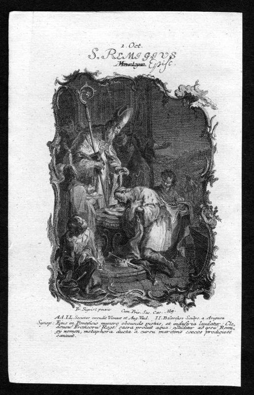 1750 Remigius von Reims 1. Oktober Kupferstich Heiliger Heiligenbild Holy Card